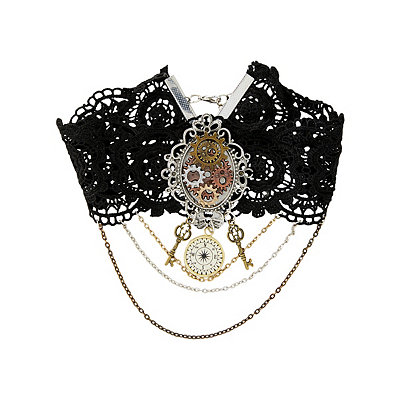 Steampunk Accessories | Gloves, Goggles, Gears, Sunglasses Steampunk Heart Charm Choker Necklace $12.99 AT vintagedancer.com