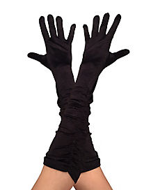 Kids Black Satin Ruched Gloves
