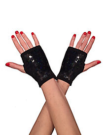 Kids Black Sequin Fingerless Gloves