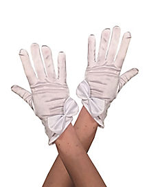 Kids White Satin Gloves with Bow