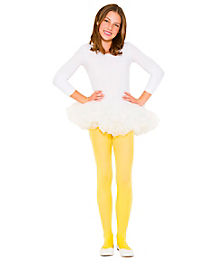 Girls Solid Yellow Tights
