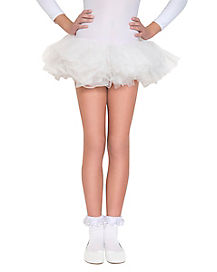 Kids White Ruffle Socks
