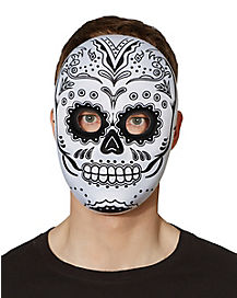 Day of the Dead Black and White Male Face Mask