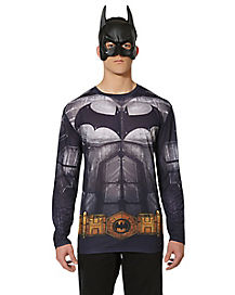 Adult Long Sleeve Printed Batman  T Shirt - DC Comics