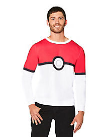 Adult Long Sleeve Pokeball  T Shirt
