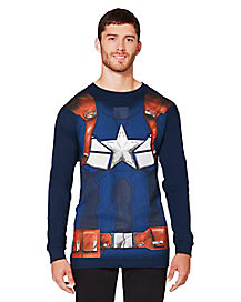 Adult Long Sleeve Captain America T-Shirt