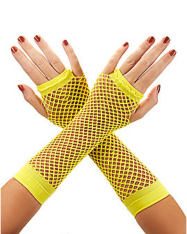 Yellow Fishnet Arm Warmers