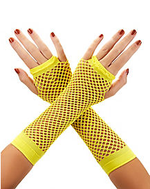 Yellow Basic Fishnet Arm Warmers
