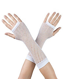 White Fishnet Arm Warmers