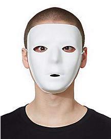 White Basic Blank Face Adult Mask