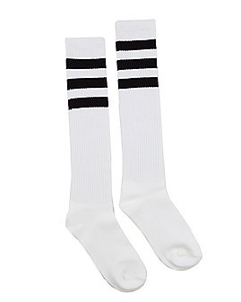 Black Striped Knee High Socks