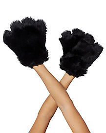 Black Furry Paws Gloves