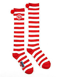 Pom Waldo Knee High Socks - Where's Waldo