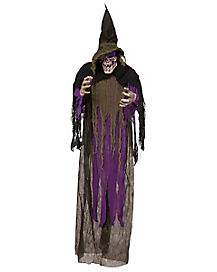 5 ft Light Up Hanging Skull Witch - Decorations