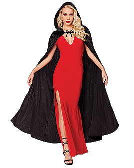Black Velvet Hooded Womens Cape