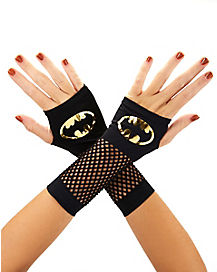 Gold Fishnet Batman Gloves - DC Comics