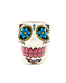 Sugar Skull Shot Glass 2 oz Ceramic