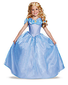Kids Long Cinderella Costume Deluxe - Cinderella Movie