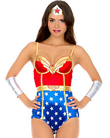 Adult Satin Wonder Woman Bodysuit - DC Comics