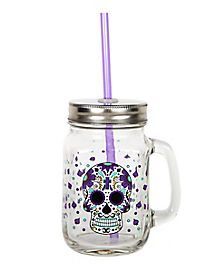 Sugar Skull Mason Jar with Purple Straw