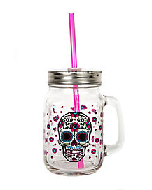 Sugar Skull Mason Jar with Pink Straw 18 oz