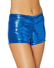 Adult Blue Sequin Shorts