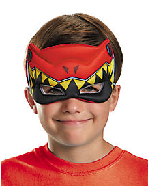 Kids Red Puff Power Ranger Mask - Power Rangers Dino Charge