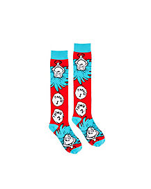 Thing 1 and 2 Knee High Socks - Dr Seuss
