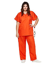 Adult Orange Prisoner Plus Size Costume - Orange is the New Black