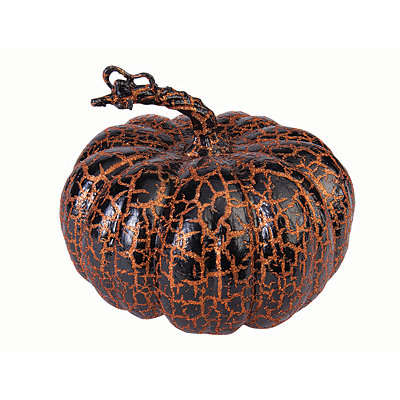 8'' Wide Orange and Black Crackle Pumpkin