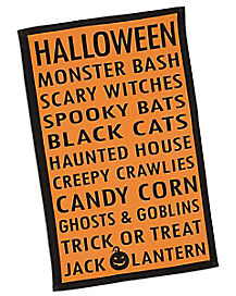 Halloween List Dish Towl
