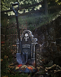 3.5 Ft Haunted Shovel Tombstone Animatronics - Decorations