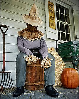 4.5 Ft Sitting Scarecrow Animatronics - Decorations