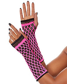 Pink and Black Fishnet Gloves