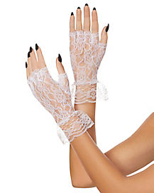 White Lace Ruffle Gloves