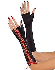 Black and Red Lace Up Gloves