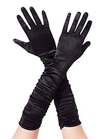 Black Ruched Arm Gloves