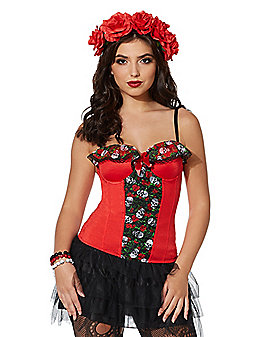 Red Rose Skull Corset