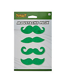 4pk Green Moustaches