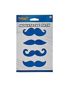 4pk Blue Mustaches