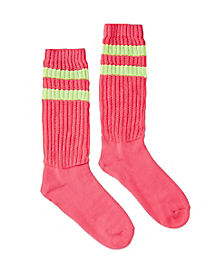 Pink and Green Slouch Socks