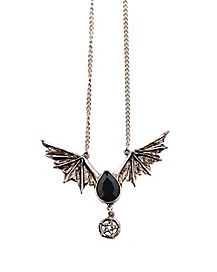 Black Drop Wings Necklace