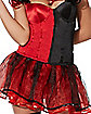 Red and Black Colorblocked Corset