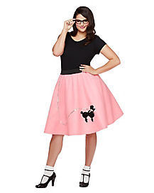 Adult 50's Poodle Skirt Plus Size Costume