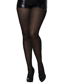 Adult Opaque Black Plus Size Tights