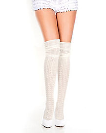 Ivory Crochet Thigh High Socks