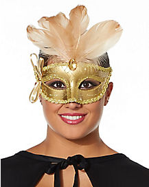 Gold Venetian Feather Mask