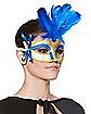 Blue Feathered Venetian Mask