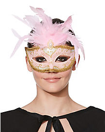 Feathered Pink Venetian Mask