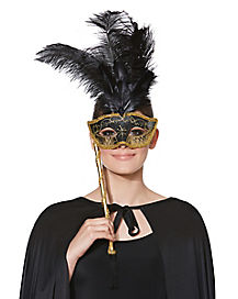 Gold and Black Feathered Venetian Mask